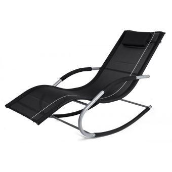 Transat à bascule JAWA ROCK fauteuil piscine jardin Noir - Mobilier ...