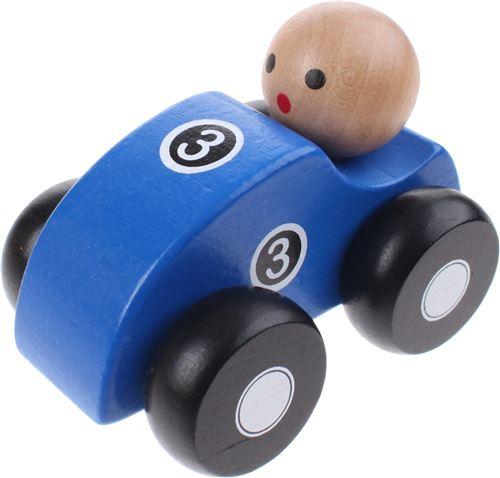 Jouéco voiture de course en bois 10 cm bleu