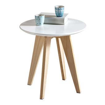 ronde bois Table en blanche d'appoint RONDO yY6b7fgv