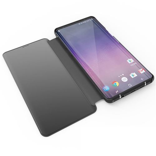 Etui Housse Samsung Galaxy S8 Plus Clear Miroir coque transparent folio Noir