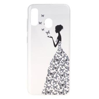 Coque en TPU très mince fille en robe papillon pour votre Samsung Galaxy A20e