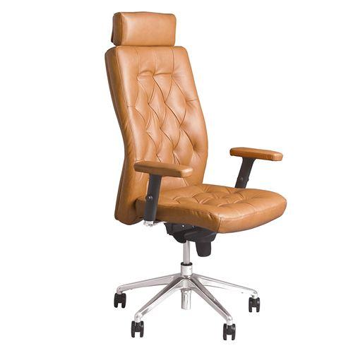 Chester - fauteuil de direction synchrone, multi-position capitonné, vintage cuir veritable marron