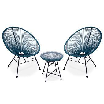 Lot de 2 fauteuils Acapulco oeuf design, avec table d\'appoint, bleu ...