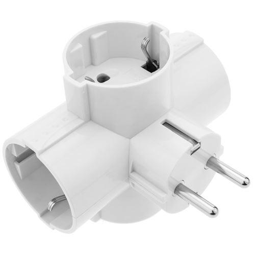Multiplicateur connecteur à broches quadruple schuko blanc