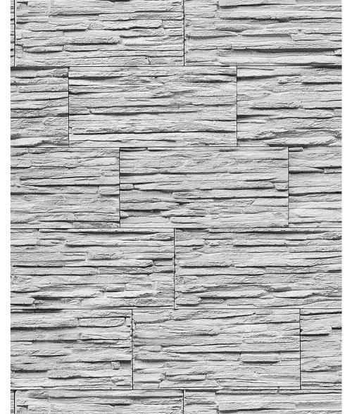 Papier peint quartzite ardoise en relief 1003-32 vinyle très résistant aspect pierre blanc gris clair | 5,33 m2