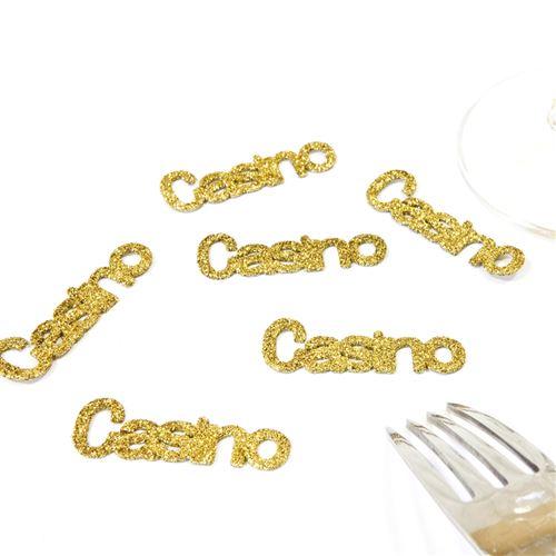Lot de 60 Confettis de table thème Casino coloris Or - 5 x 1,5 cm