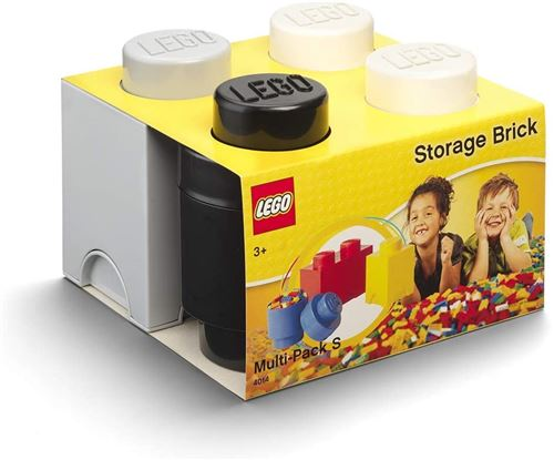 Room Copenhagen 40140007 Brique Lego Multipack S, Boîtes de Rangement empilables, Jeu de 3 (Noir, Gris, Blanc), Mix, One Size