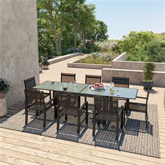 HARA XL - Table de jardin extensible aluminium 140/280cm + 8 ...