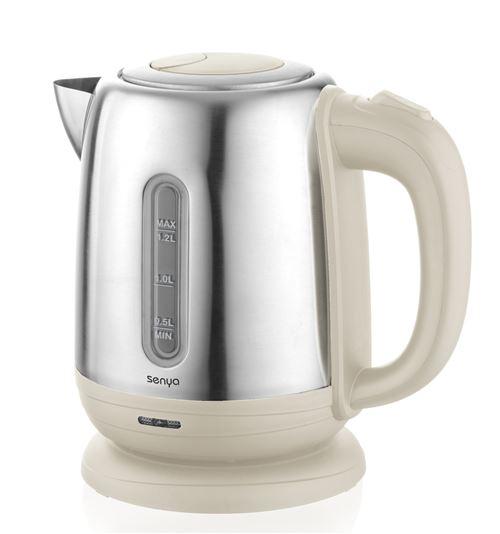 Senya bouilloire électrique Inox Little Tea, bouilloire sans fil, capacité 1.2L, 1500W, SYBF-K025C (Crème)