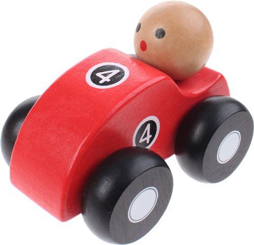Jouéco voiture de course en bois rouge de 10 cm