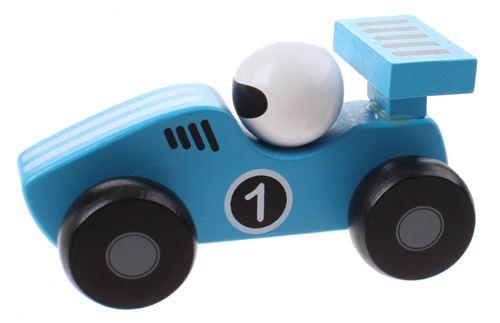 Jouéco voiture de course en bois 12 cm bleu