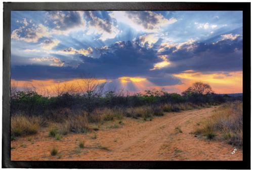 Couchers De Soleil Paillasson Essuie-Pieds - Rayons De Soleil À Travers Des Nuages, Parc National Waterberg, Namibia (60x40 cm)