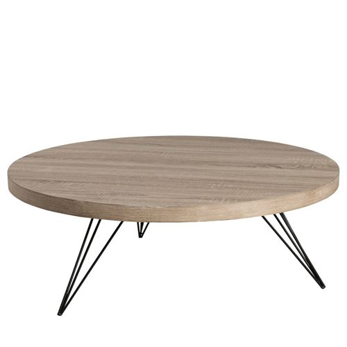 Table basse ronde 90 x 90 cm pieds scandi