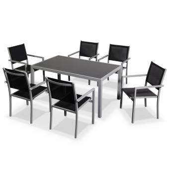 Salon de jardin Capua en aluminium table 150cm, 6 fauteuils ...