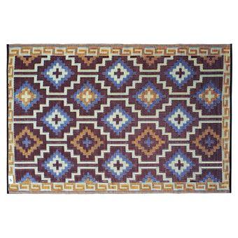 Fabhabitat Tapis intérieur extérieur Lhasa bleu roi et chocolat 180 x 120 cm