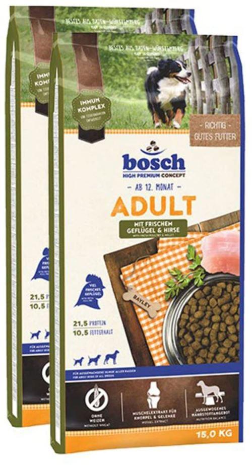 bosch Dog ADULT Poultry & Millet paukštiena ir soros 15kg +2 Fruitees skanėstai dovanų