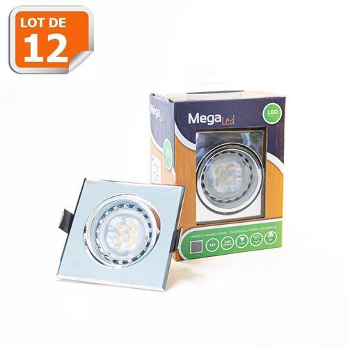 Lot 12 Spots encastrables LED amovibles Argenté 4W - Equivalent 40W - Mega Led CL10GUSC40W