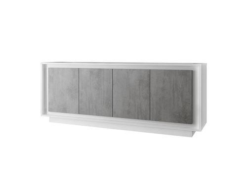 SUBLEEM Buffet 4 portes en bois Monno blanc mat laqué cement