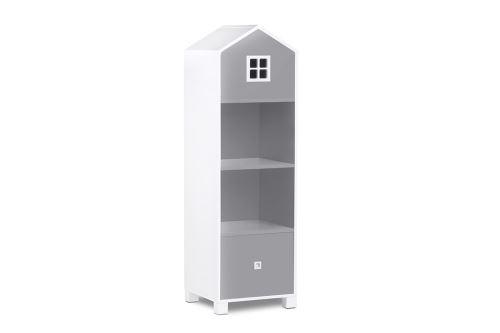 MIRUM - Bibliothèque chambre enfant - 3 niches + 1 tiroir - 47 x Blanc/Gris