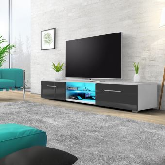 meuble tv edith 140 cm blanc mat gris clair brillant avec led meuble tv achat prix fnac. Black Bedroom Furniture Sets. Home Design Ideas