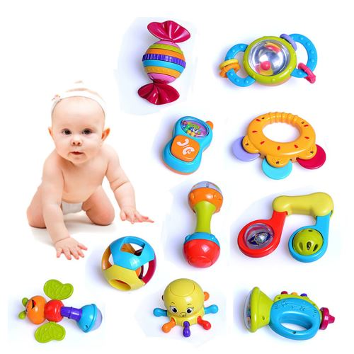Hochets Teether Shaker Grab and Spin Hochet Musical Toy Set Jouets Early Pealer1835