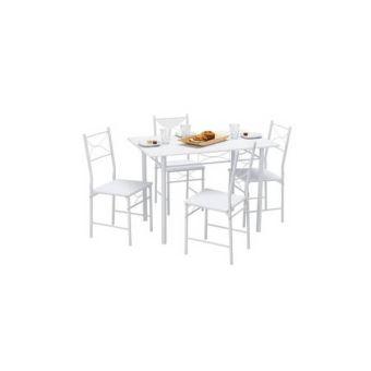 Table De Cuisine 4 Chaises Metal Bois Blanc Achat Prix