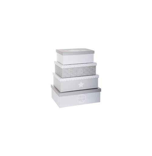 Set de 4 Boîtes de Rangement Douceur Gris & Blanc