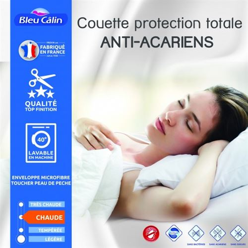 Couette protection totale anti acariens 400 gr/m² 200 x 200 cm pour lit 120 x 190 cm