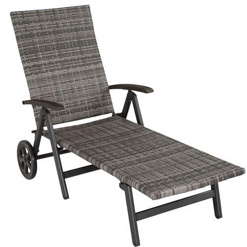 TecTake Bain de soleil avec roulettes AUCKLAND - gris