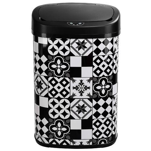 Poubelle de cuisine automatique MAJESTIC mosaïque noir en inox 58L