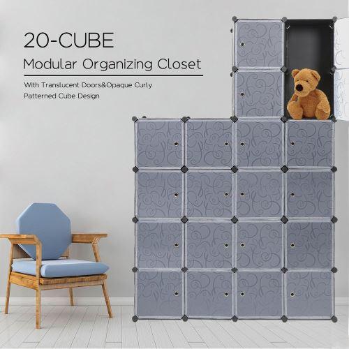 Multifonction Armoire de Chambre - Étagère de Rangement - Meuble DIY avec Grande Capacité de 20 Cubes