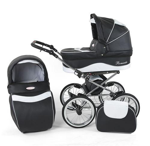 Poussette / Landau combiné 2en1 multifonctions avec équipement bébé enfant 0-36m Cuir ECO Cadre chromé Romantic Classic