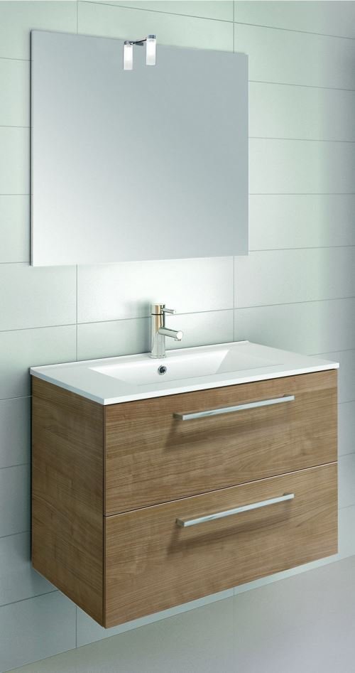 Ensemble meuble SAPHIR SLIM à tiroirs - Modèle en 2 TIROIRS - 1 vasque - Lg 60 cm - Finition : Laqué Blanc