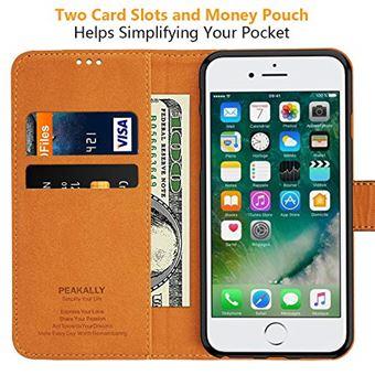 Peakally Coque iPhone 6/6S/7/8, PU Etui Housse en Cuir Portefeuille de Protection, Livre Horizontale, Emplacements Cartes avec Fonction Support et ...