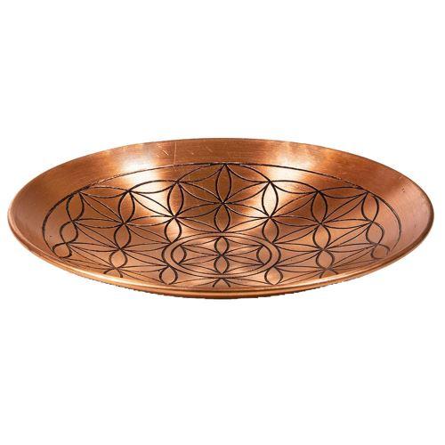 Assiette déco de cuivre motif fleur de vie