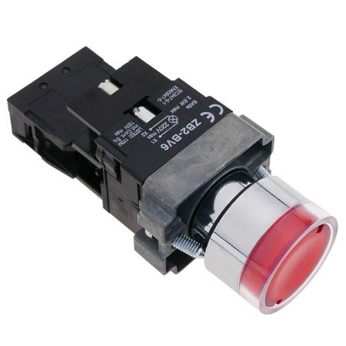 Bouton poussoir verrouillage 22mm 400V 10A avec lumière LED rouge