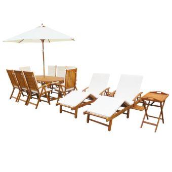 23 pcs Salon Jardin en Bois d\'acacia Massif 1 Tables 8 Chaise Pliable 1  Table d\'appoint 2 Chaise Longue avec Coussin
