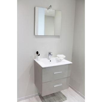 Meuble suspendu 60 cm Zoé, taupe + vasque porcelaine, miroir, spot ...