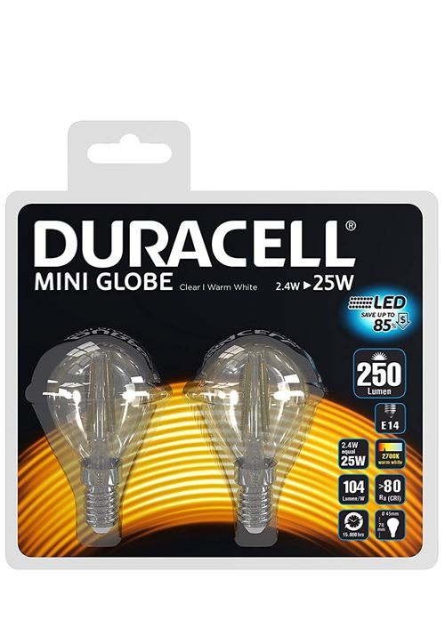 Pack 2 ampoules Duracell LED E14 25W Mini Globe filament