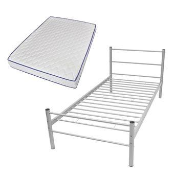 vidaxl lit simple avec matelas en mousse lit 1 personne 90x200 cm mtal gris achat prix fnac - Lit 1 Personne