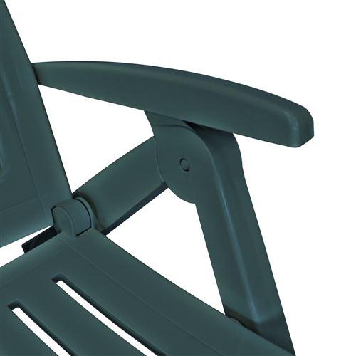 vidaXL Chaise longue avec repose pied Plastique Vert