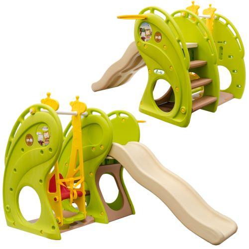 LittleTom Toboggan et Balançoire pour petits enfants 180x110x120cm maison de jeux en plastique vert-
