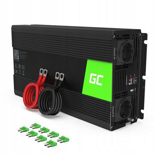 Green Cell® 1500W/3000W Modifiée Sinus Convertisseur de Tension DC 24V AC 220V/230V Power Inverter sinusoïdale, Onduleur Transformateur avec Connection USB