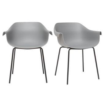 Chaises Design Gris Et Noir Lot De 2 COUTURE