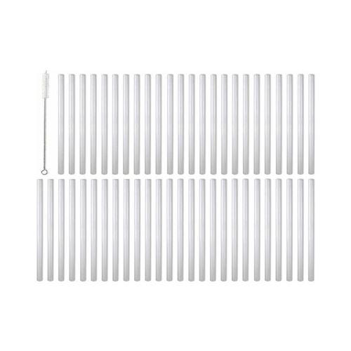 Barbaydos - Set 50 pailles droites en verre blanc avec goupillon 15 cm