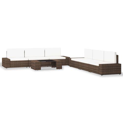 vidaXL Salon de jardin - 4 canapés d'angle + 2 canapés central + 1 table basse - Résine tressée - Marron