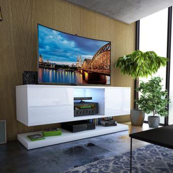 Meuble Tv Wizz 140cm Blanc Mat Blanc Brillant Avec Led Meuble