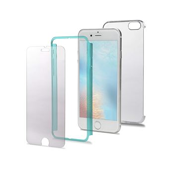 Celly Total Body Coque en PC avec Film de Protection d'écran en Verre trempé pour iPhone 7 Plus Bleu