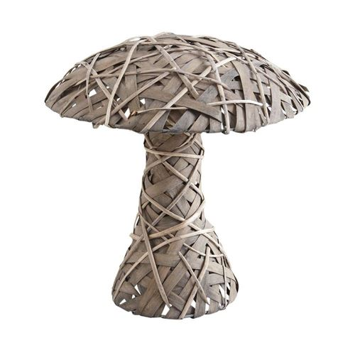 Aubry Gaspard - Champignon décoratif en osier gris et bois