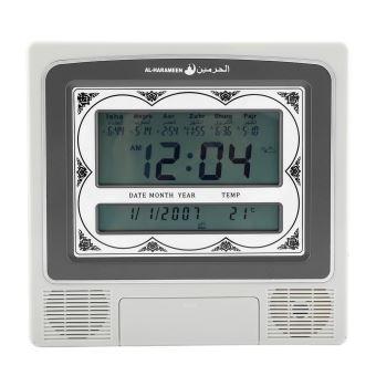 Horloge musulmane LCD num/érique automatique table de r/éveil de pri/ère islamique Horloge multifonctions Azan Clock avec stylo